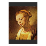 Portrait Of A Young Girl By Rembrandt Harmensz. Poster