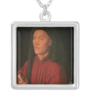 Portrait of a Young Man, 1432 Silver Plated Necklace