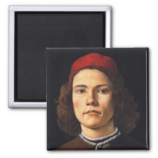 Portrait of a Young Man by Sandro Botticelli Magnet