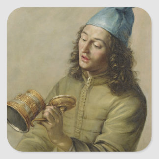 Portrait of a Young Man Holding a German Gilt Tank Square Stickers