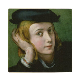 Portrait of a Young Man (oil on panel) Wood Coaster