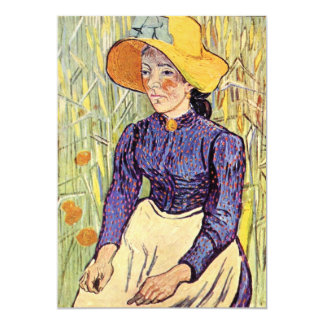 Portrait of a young peasant girl by van Gogh 13 Cm X 18 Cm Invitation Card