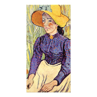 Portrait of a young peasant girl by van Gogh Photo Card Template