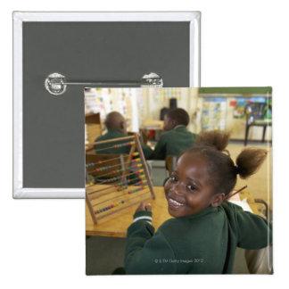 Portrait of a young schoolgirl smiling, KwaZulu 15 Cm Square Badge