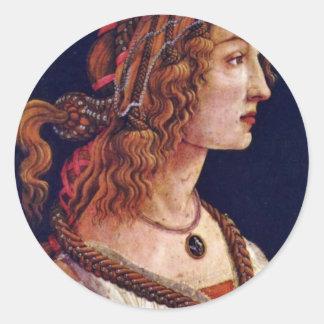 Portrait Of A Young Woman (Simonetta Vespuci?) Classic Round Sticker