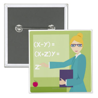 Portrait of a young woman teaching pins