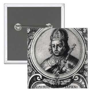 Portrait of Alfonso X  'the Wise' 15 Cm Square Badge