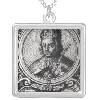 Portrait of Alfonso X  'the Wise' Silver Plated Necklace