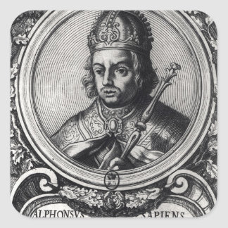 Portrait of Alfonso X  'the Wise' Square Sticker