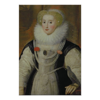 Portrait of an Elizabethan Lady with a Parrot Poster