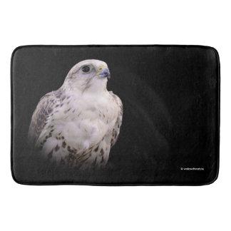 Portrait of an Inquisitive Saker Falcon Bath Mat
