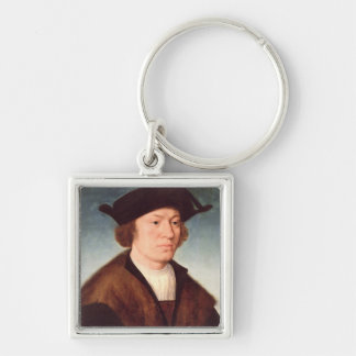 Portrait of an Unknown Man, 1520 (oil on panel) Silver-Colored Square Key Ring