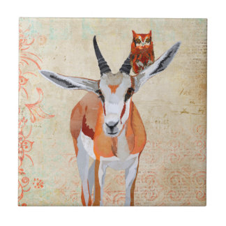 PORTRAIT OF ANTELOPE & OWL Tile
