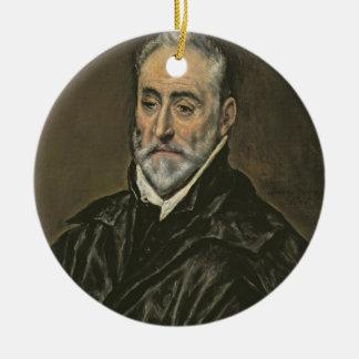 Portrait of Antonio de Covarrubias y Leiva (1514-1 Round Ceramic Decoration