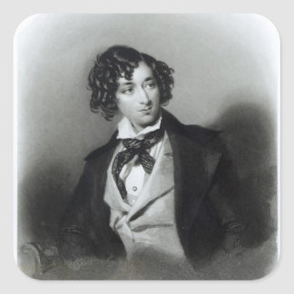 Portrait of Benjamin Disraeli Esquire  M.P. Square Sticker