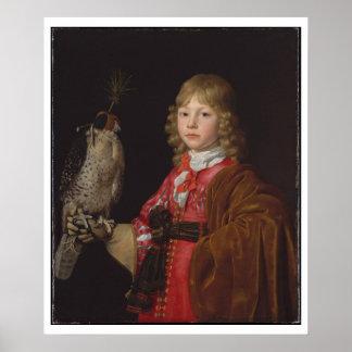 Portrait of Boy with Falcon Print