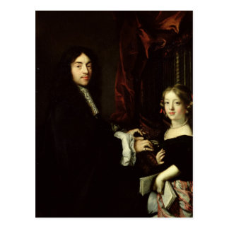Portrait of Charles Couperin  and the Daughter Postcard
