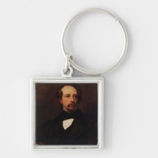 Portrait of Charles Dickens  1855 Silver-Colored Square Key Ring