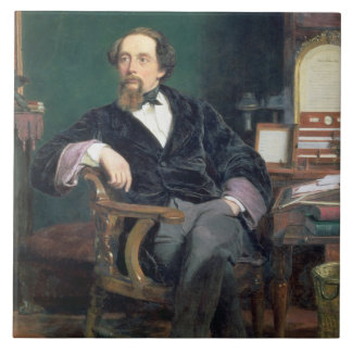 Portrait of Charles Dickens (oil on canvas) Ceramic Tile