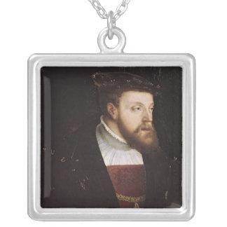 Portrait of Charles V Square Pendant Necklace