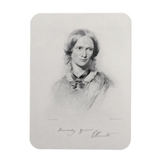 Portrait of Charlotte Bronte, engraved by Walker a Rectangle Magnets