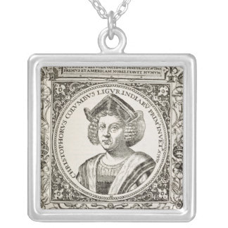 Portrait of Christopher Columbus Silver Plated Necklace