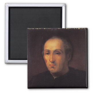 Portrait of Christopher Columbus Square Magnet