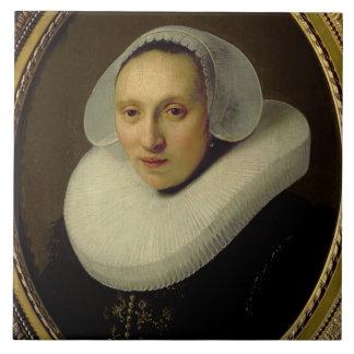 Portrait of Cornelia Pronck, Wife of Albert Cuyper Large Square Tile