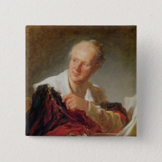 Portrait of Denis Diderot  c.1769 15 Cm Square Badge