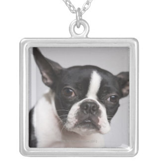 Portrait of dog silver plated necklace