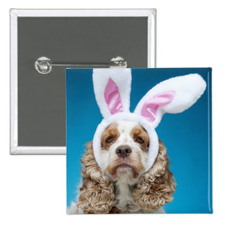 Portrait of dog wearing Easter bunny ears Button