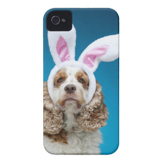 Portrait of dog wearing Easter bunny ears iPhone 4 Case-Mate Cases