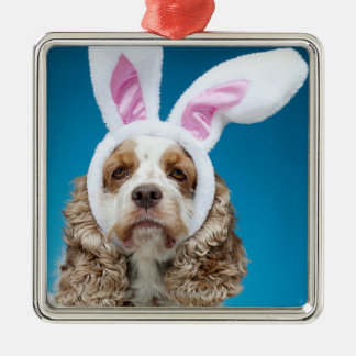 Portrait of dog wearing Easter bunny ears Christmas Tree Ornament