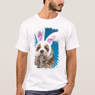 Portrait of dog wearing Easter bunny ears T-Shirt