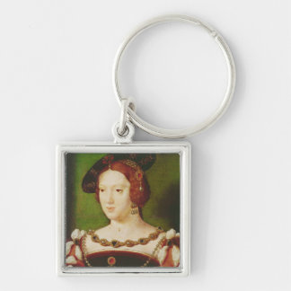 Portrait of Eleanor of Hapsbourg Silver-Colored Square Key Ring