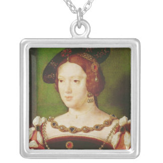 Portrait of Eleanor of Hapsbourg Silver Plated Necklace