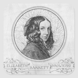Portrait of Elizabeth Barrett Browning Square Sticker