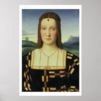 Portrait of Elizabeth Gonzaga, c.1504 (oil on pane Poster