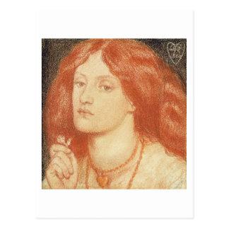 Portrait of Elizabeth Siddal (1834-62), 1860 (red Postcard