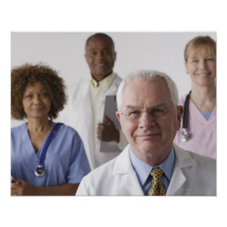 Portrait of four medical professionals, studio poster