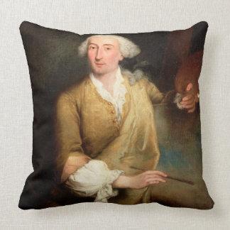 Portrait of Francesco Guardi (1712-93) (oil on can Cushion