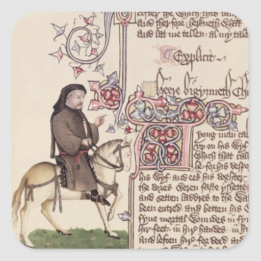 Portrait of Geoffrey Chaucer  facsimile from Square Stickers