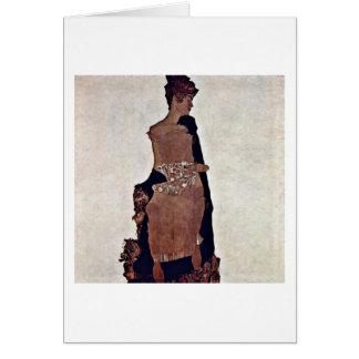 Portrait Of Gertrude Schiele By Egon Schiele Card