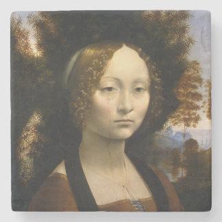 Portrait of Ginevra de Benci by Leonardo da Vinci Stone Beverage Coaster