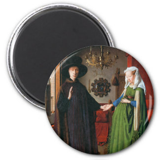 Portrait of Giovanni Arnolfini and His Wife 6 Cm Round Magnet