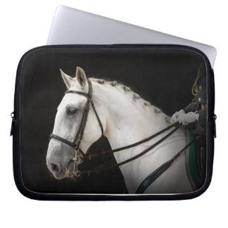 Portrait of Gray Dressage Horse on Black Laptop Sleeve