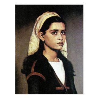 Portrait of gypsy girl postcard
