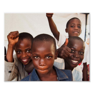 Portrait of happy Ugandan kids Poster