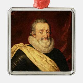 Portrait of Henri IV  King of France Silver-Colored Square Decoration