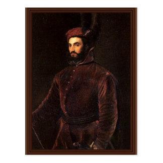 Portrait Of Ippolito De 'Medici. By Tizian Postcard